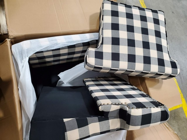 Accent Chair - Black and White Plaid - Used